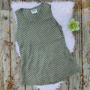 Flax Linen Textured Pocket Tunic Tank Top Sz M